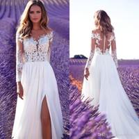 2018 новый летний пляж простые прозрачные винтажные кружевные свадебные платья драгоценные шеи с длинным рукавом высокие бедра сплит боковые свадебные платья Vestido de Novia
