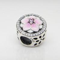 Auténtico 925 plata esterlina rosa esmalte magnolia flores encantos caja original para perlas Pandora Charms Pulsera Joyería
