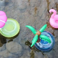 Commercio all'ingrosso mix PVC gonfiabile Drink Cup Holder Ciambella Flamingo Anguria Ananas Limone Coconut Tree Shaped Floating Mat Piscina galleggiante Giocattoli