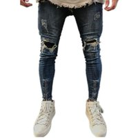 ca44b9aed99e87 2018 Neue Männer zerrissen Löcher Jeans Zip Skinny Jeans Biker schwarz weiß  mit Patchwork patchwork Slim Hip Hop Hosen Man