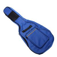 """41 """"غيتار حقيبة الكتف الأشرطة جيوب 5 ملليمتر القطن مبطن أزعج حقيبة القضية الأزرق"""