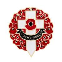 Para que no olvidemos la flor de amapola roja Pin de broche cruzado para mujeres Hombres traje Broche Aniversario Insignia Esmalte Breastpin Reino Unido Día de conmemoración de la Legión