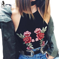 Women Top Tank Hanging Embroidery Blouse Short Sling Vest Sh...