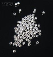 Vendu par sac Fashion Round Spacer Véritable Perles en Argent Sterling 925 2/4/5/6/7/8/9 / 10mm choisissez DIY Charms Jewelry