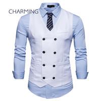Mens coton gilet Mode tissu double boutonnage conception mens gilet décontracté Mens équipé gilets gilet hommes