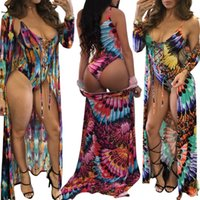 bikini Print Sling Swimsuit with Long Sleeve Beach Coverup h...
