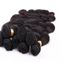바디 웨이브 인간의 머리카락 번들 6 조각 100 % 인간의 머리카락 직물 브라질 페루 헤어 확장 자연 색상 1B 12-28 인치