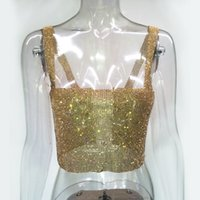 ce9d510dadb Women Glitter Gold Rhinestone Party Tank Camis 2018 Summer Sleeveless Beach Sequin  Bustier Crop Tops Sexy Party Nightclub Wear