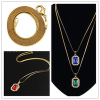 Femail jewelry gemstone necklace hip hop pendant necklaces w...