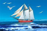 Fondali fotografia a tema cielo blu e mare marinaio stampato gabbiano bianco barca a vela bambini bambini compleanno festa foto cabina sfondi