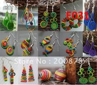 E031 Miao Ethnic hand wrapped colorful silk thread earrings,...