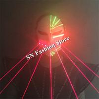MD5-1 новый светодиодный робот костюмы бальные танцы маска лазерный человек маска Хэллоуин анфас свет маска партии dj diaso певица этап носит производительность