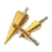 Livraison gratuite 3pcs / set Grand pas cône Hex Shank Coated Metal Forage Outil de coupe Ensemble HSS Foret Steel Hole Cutter 4-12 / 20 / 32mm