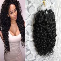 Curly por fio 100 grama por cor natural micro loop anel extensões cor remy cabelo pré-ligado