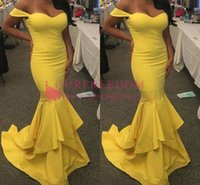 2019 New Sweetheart Neck Yellow Prom Dresses Off The Shoulder Tiered Skirts Mermaid Formal Evening Dresses Custom Made Hot Sale