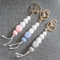 Silicone Bead Teething Keychains Baby Chewable Key Ring Toy ...