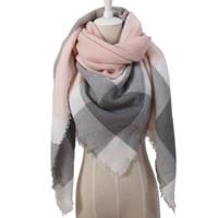 새로운 겨울 스카프 패션 여성 스카프 shawls 럭셔리 격자 무늬 캐시미어 스카프 여성 삼각형 붕대 Bufanda 스카프가 래핑 도매 140 * 140 * 190CM