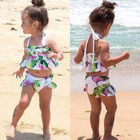 Brand new الوليد طفل رضيع طفل كيد طفلة فلامنغو ملابس السباحة بيكيني 2 قطع مجموعة المايوه زي 1-6 طن