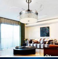 LED-Lüfterlicht Deckenventilatoren Kristall mit Fernbedienung Einfache stilvolle moderne Wohnzimmer Esszimmer Schlafzimmer Lichter 42inch