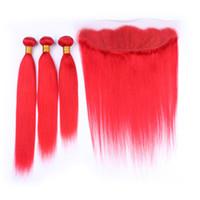 Rot Brasilianisches Reines Haar Bundles mit Frontal Spitzeschliessen # Rot Gerade Menschliches Haar Spinnt mit 13x4 Volle Spitze Frontal 4 Teile / los