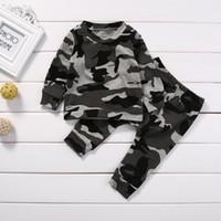 2 قطع جديد ملابس الطفل مجموعة طفل الرضع التمويه طفل رضيع فتاة الملابس تي شيرت قمم + السراويل ملابس مجموعة