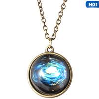 Estrella luminosa de cristal Planeta Planeta Collar Cristal Cabochon Colgante Resplandor en los collares de la oscuridad Joyería de Navidad