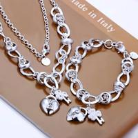 Yüksek kalite 925 damgalı silvered takı seti, nikel ücretsiz antialerjik Kakma Kalp Kilit Ve Çiçek Kolye anahtar Takı Seti