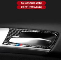 고품질 ABS 탄소 섬유 스타일 자동차 내부 도어 핸들 장식 프레임 스티커 BMW X5 E70 X6 E7 2008-2013