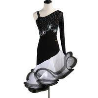 Latin Dans Elbise Kadın Kızlar Latin Salsa Dans Yarışması Elbiseler Samba Kostümleri D0510 Siyah Kabarık Hem Rhinestones Uzun Kollu