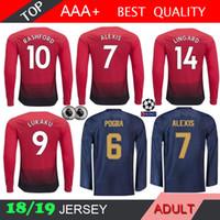 58ab078e8e POGBA Manga Comprida LINDELOF RASHFORD ALEXIS LUKAKU MEMPHIS MATA Camisa de Futebol  18 19 Camisa de