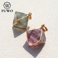 FUWO Carved Fluorite Pyramid Shape Pendant High Quality 24K Gold Electroplate Raw Gem Stone Jewelry Wholesale PD079
