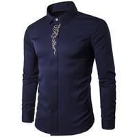 Vintage Erkekler Gömlek Çiçek Baskı Çin Tarzı Olgun Adam Ofis Gömlek Koyu mavi Erkek Blusa Düğün Giyim 2018 Sıcak Satış Boy Bluz