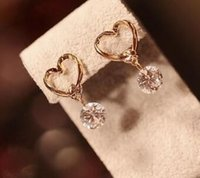 free shipping European and American fashion new jewelry elegant hollowed-out airy zircon earring female earrings exquisite classic