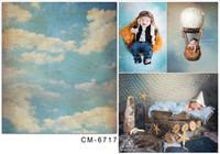 Blue Sky e Nuvole Retro Style fondali fotografia stampata Bambino appena nato fotografica Wallpaper Puntelli Studio fotografico Sfondo Vintage