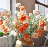 10 pcs / lot Artificielle Faux Style De Campagne Coloré Rose Simulation PE Fleurs En Soie Bouquet Accueil Dec Party Wedding Decor Cadeaux