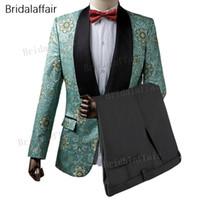 Gwenhwyfar Custom Made Groomsmen Smokin Yeşil Çiçek Baskılı Erkekler Suit Slim Fit Erkek Takım Elbise Set 2 Adet (ceket + Siyah Pantolon)