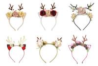 Рогов лося обруча волос оголовье Рождественский цветок рог оленя 6 цветов лента для волос детей моды Xmas аксессуар для волос