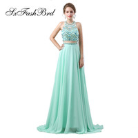 Elegant Girls Dress Halter With Beading Crop Top A Line Long...