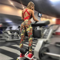 One Pcs Sexy Yoga Sport Overalls Backless Weibliche Gym Kleidung Blumendruck Lauf Fitness Workout Set Sport Yoga Für Frauen