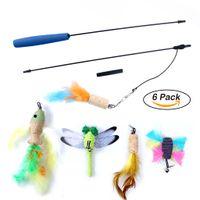 6 Pack Colorido Pluma Cat Toy Retractable Wand Rod con 5 Cabeza de Repuesto Pluma Juguetes Teaser Cat Catcher