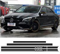 Baskı 1 Stil Üst Çatı Bonnet Yan Stripes Çıkartması Etiketler Mercedes Benz W117 C117 X117 CLA45 AMG Siyah / Beyaz / 5D Karbon