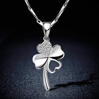 New Design Four Leaf Clover Pendant Necklaces For Women Wedd...