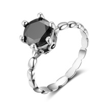 European Fashion Big Cubic Zirconia Black Solitaire Ring 925...