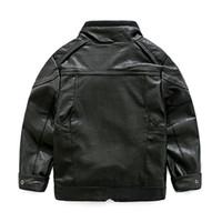 Pojkar Kläder Promotion Hot Selling 2017 Spring Cool Blazer Kids Leather Coat Höst Winter Zipper Biker Moto Jacket