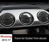 Console in fibra di carbonio del condizionatore d'aria di uscita pannello di copertura Trim per Ford Mustang 2015- 2017 interni della decorazione di cunicoli di ventilazione Telaio Car Styling