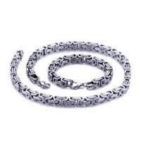 5mm 6mm 8mm wide Silver Stainless Steel King Byzantine Chain...