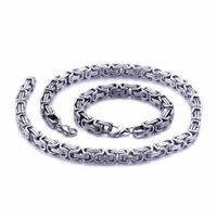 5mm / 6mm / 8mm largo argento in acciaio inox king king bizantino catena collana bracciale gioielli da uomo gioielli a mano
