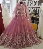 2018 musulmán cuello alto manga larga vestidos de novia de encaje apliques más tamaño Arabia Saudita vestido de fiesta nupcial tren personalizado vestido de noiva