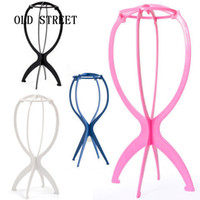 Pink White Black Blue Wig Stand Head Plastic Wig Holder Stan...