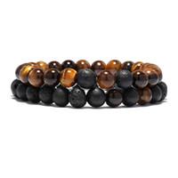 3 Стиль 2 шт / Set Tiger Eyes Lava Stone браслет Комплекты Подвеска Йога Медитация Braclet для Mens женщин Пары ювелирных аксессуаров